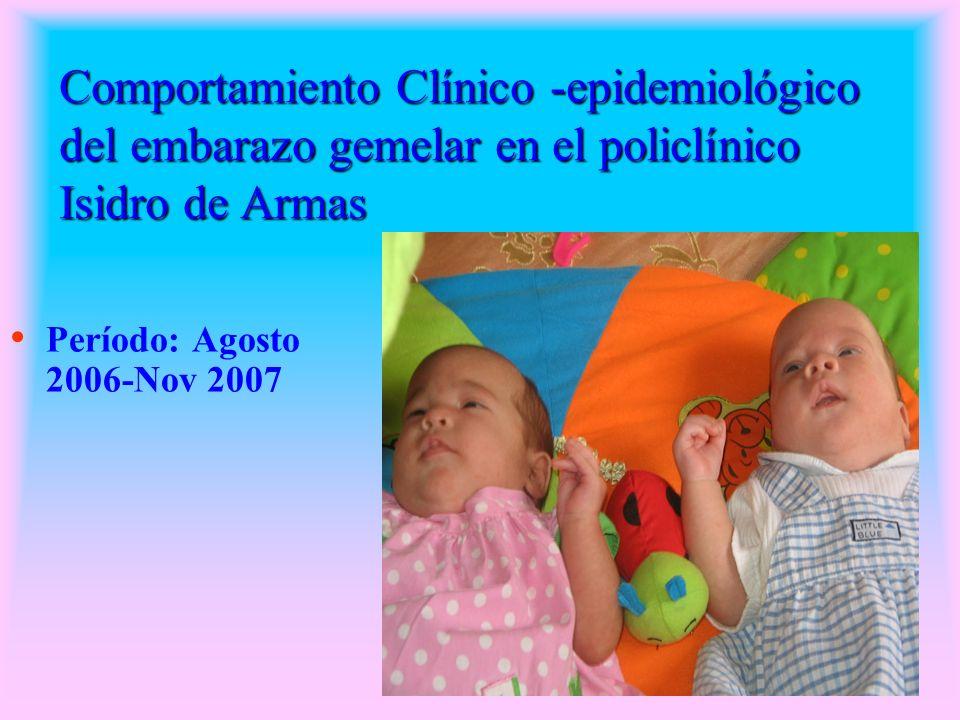 Comportamiento Clínico -epidemiológico del embarazo gemelar en el policlínico Isidro de Armas