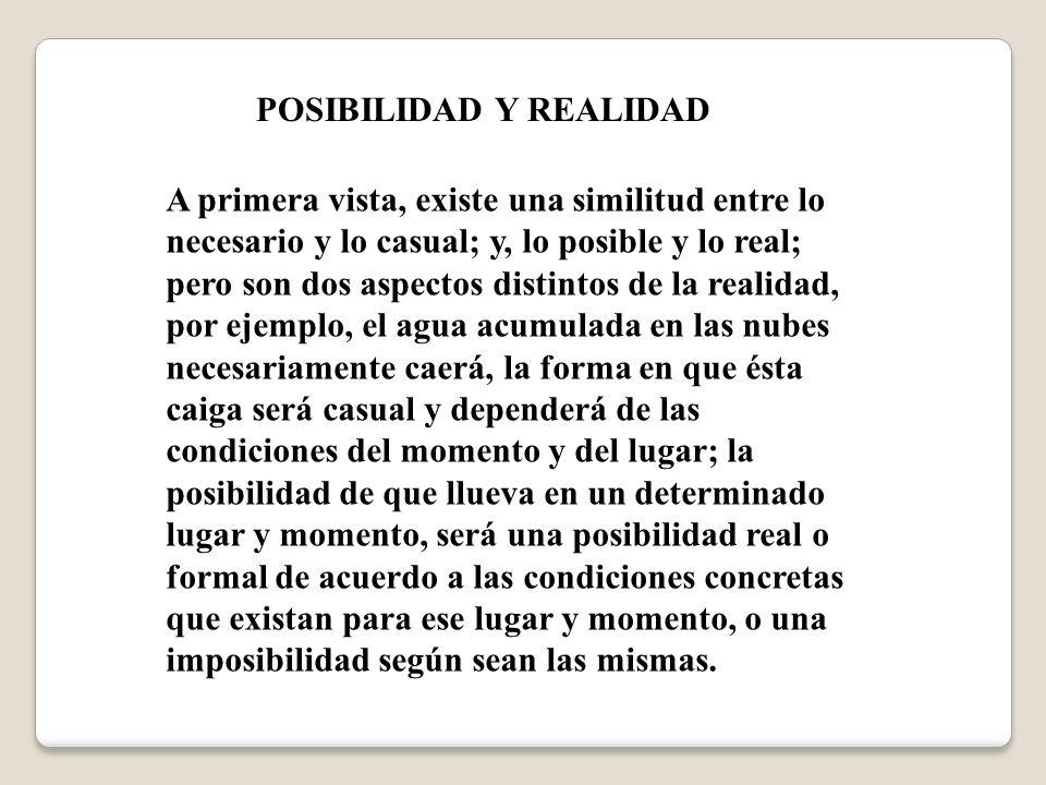 POSIBILIDAD Y REALIDAD