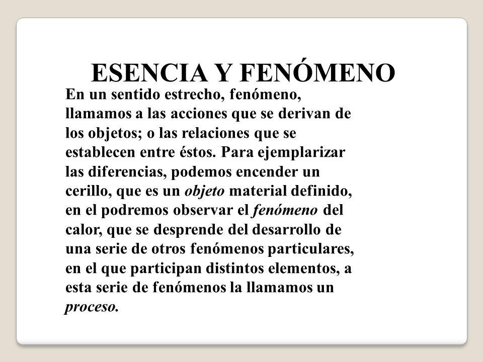 ESENCIA Y FENÓMENO