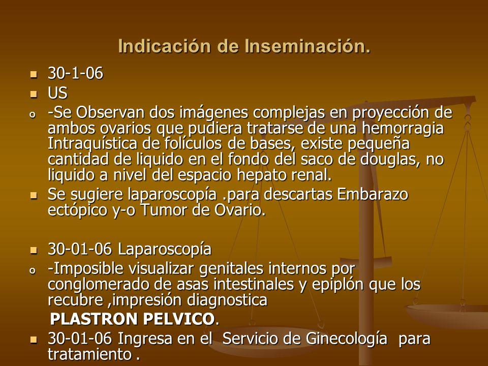 Indicación de Inseminación.