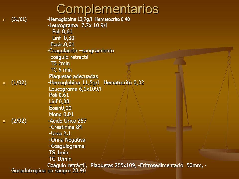 Complementarios Poli 0,61 Linf 0,30 Eosin.0,01