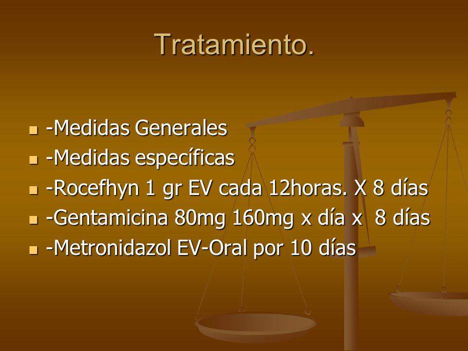 Tratamiento. -Medidas Generales -Medidas específicas