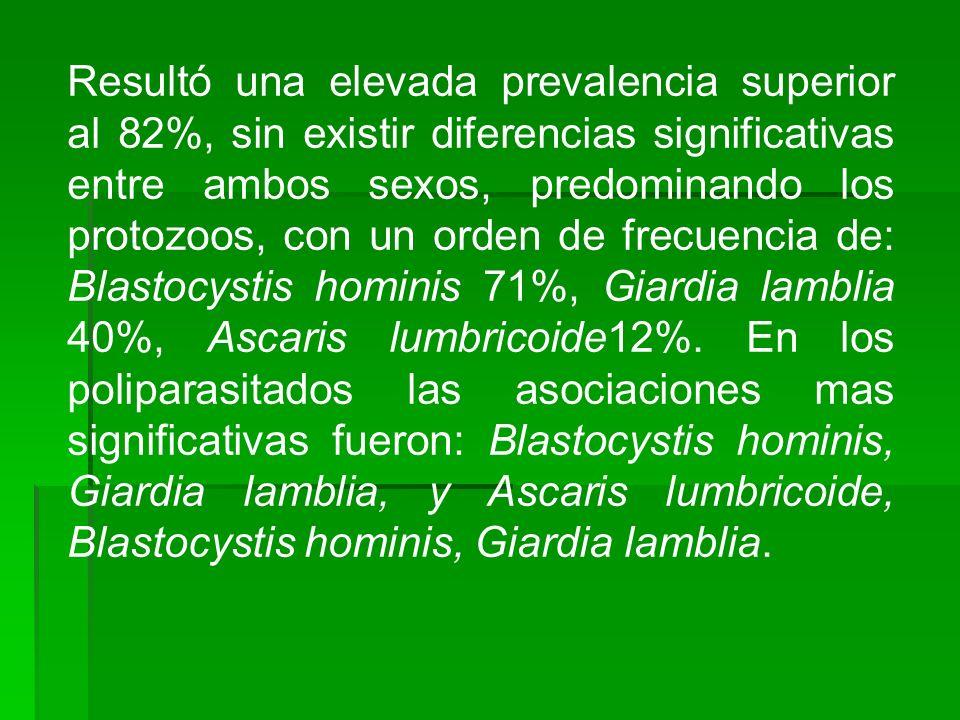 Resultó una elevada prevalencia superior al 82%, sin existir diferencias significativas entre ambos sexos, predominando los protozoos, con un orden de frecuencia de: Blastocystis hominis 71%, Giardia lamblia 40%, Ascaris lumbricoide12%.