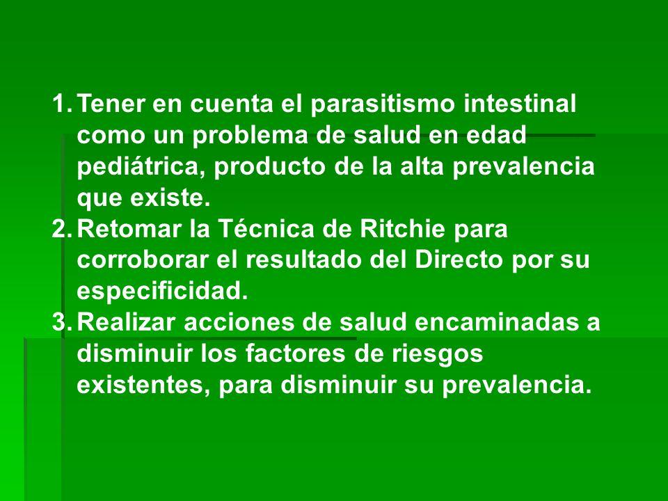 Tener en cuenta el parasitismo intestinal como un problema de salud en edad pediátrica, producto de la alta prevalencia que existe.