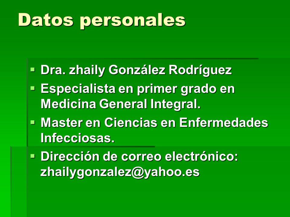 Datos personales Dra. zhaily González Rodríguez