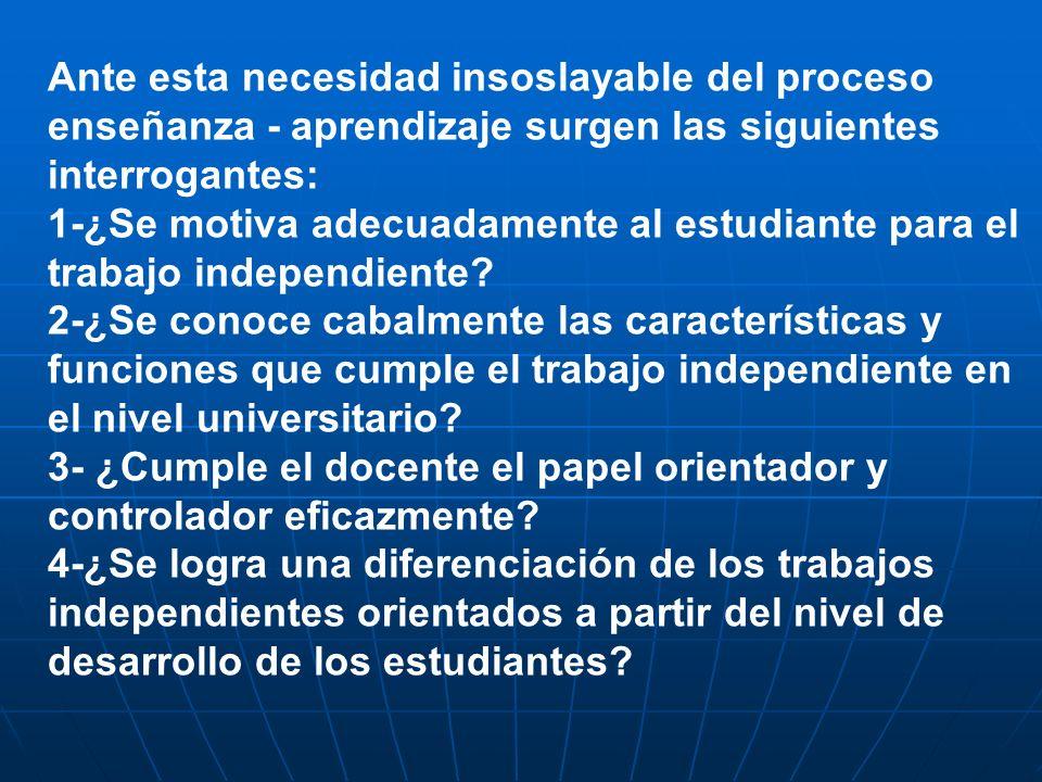 Ante esta necesidad insoslayable del proceso enseñanza - aprendizaje surgen las siguientes interrogantes: