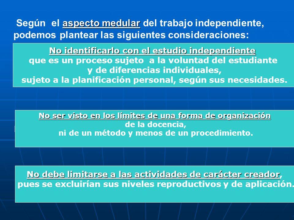 Según el aspecto medular del trabajo independiente, podemos plantear las siguientes consideraciones: