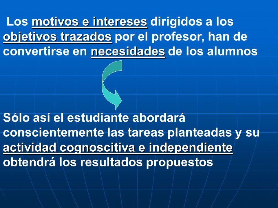 Los motivos e intereses dirigidos a los objetivos trazados por el profesor, han de convertirse en necesidades de los alumnos