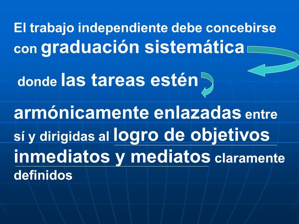 El trabajo independiente debe concebirse con graduación sistemática