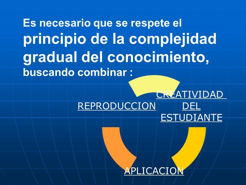 Es necesario que se respete el principio de la complejidad gradual del conocimiento, buscando combinar :