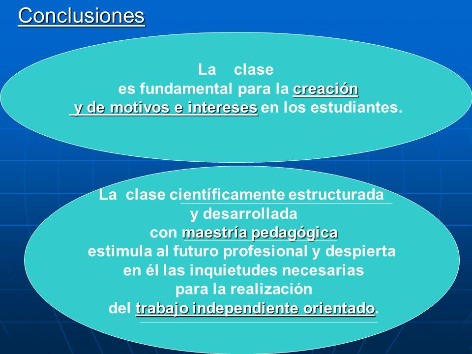 Conclusiones La clase es fundamental para la creación