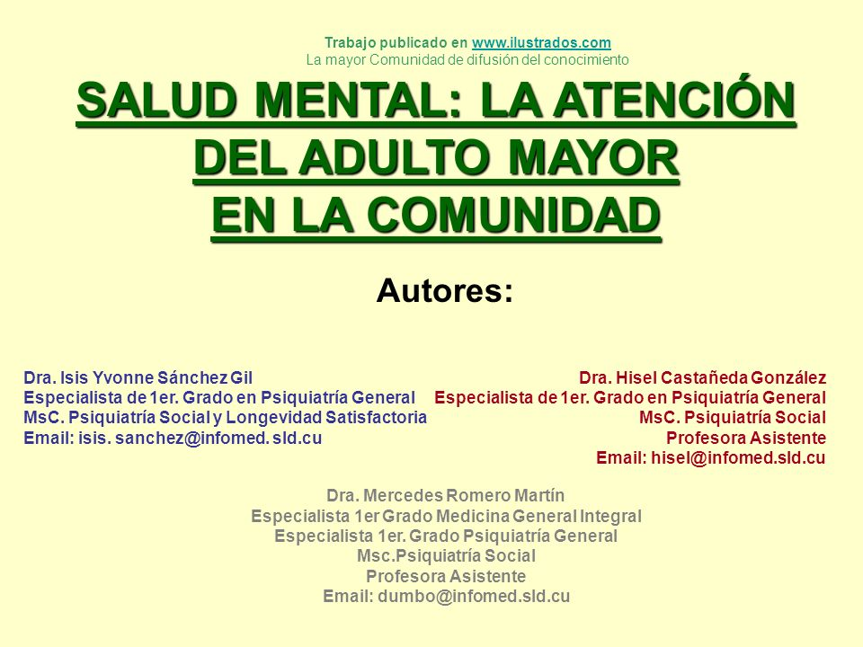 SALUD MENTAL: LA ATENCIÓN DEL ADULTO MAYOR EN LA COMUNIDAD