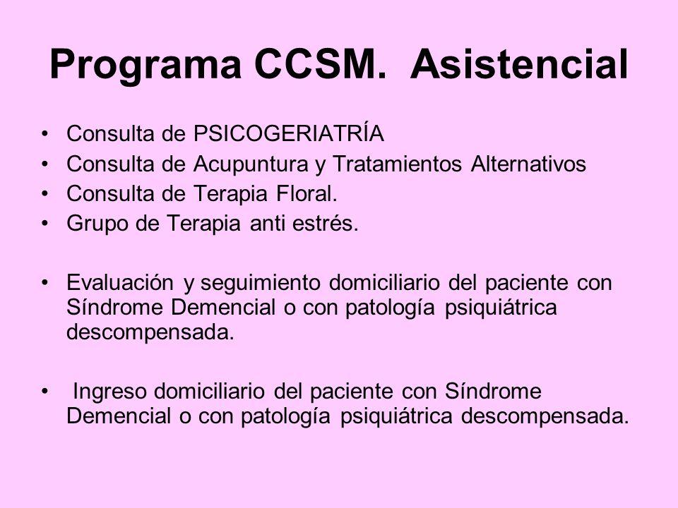 Programa CCSM. Asistencial