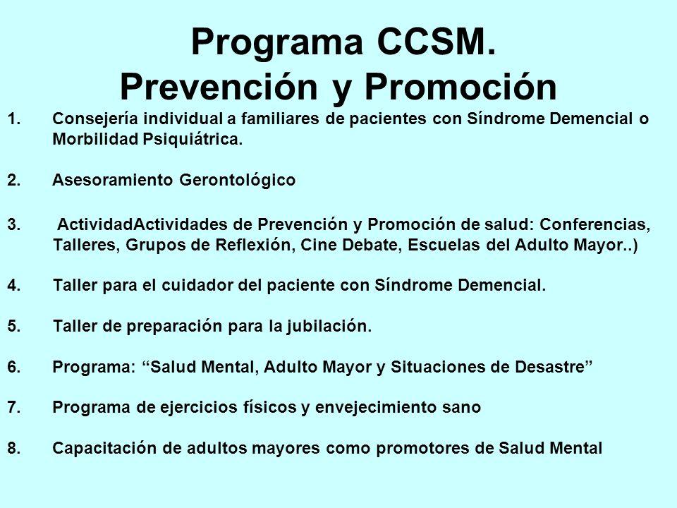 Programa CCSM. Prevención y Promoción