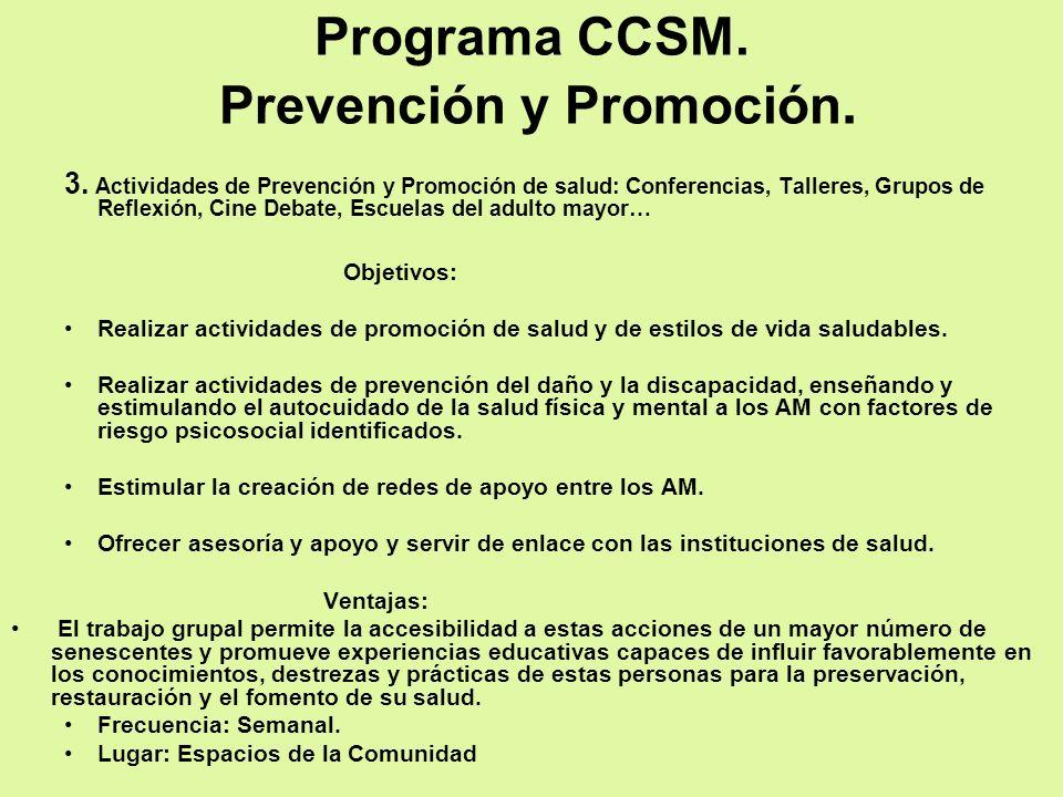 Programa CCSM. Prevención y Promoción.
