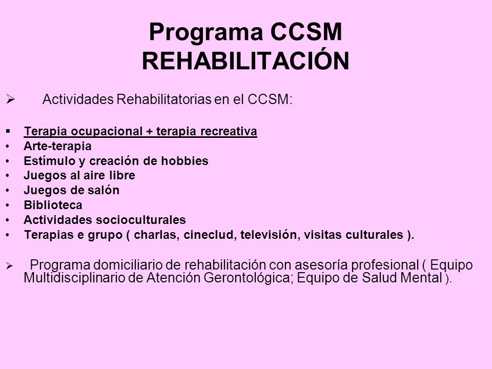 Programa CCSM REHABILITACIÓN