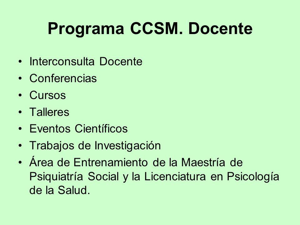 Programa CCSM. Docente Interconsulta Docente Conferencias Cursos