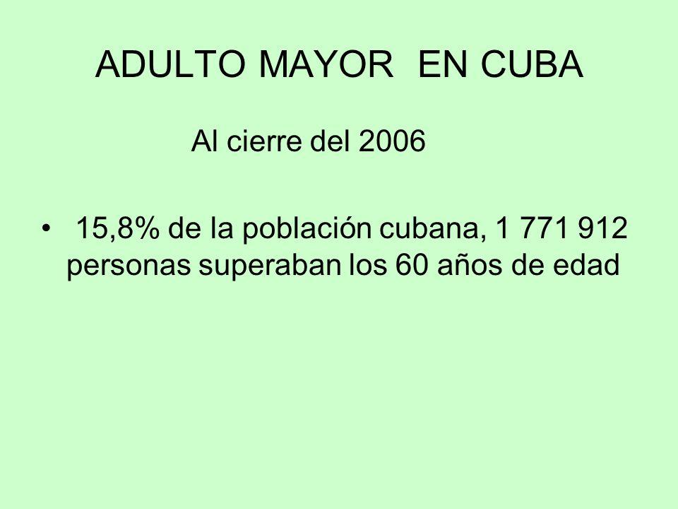 ADULTO MAYOR EN CUBA Al cierre del 2006
