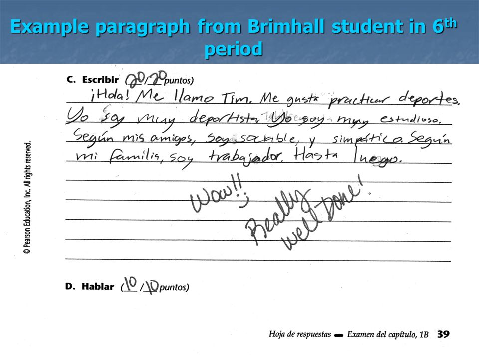 Example paragraph from Brimhall student in 6th period