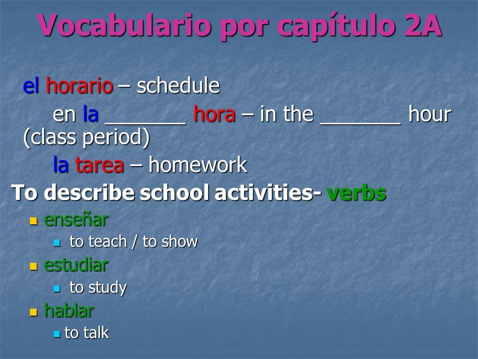 Vocabulario por capítulo 2A