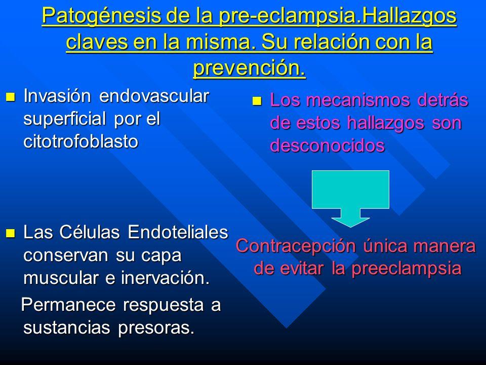 Patogénesis de la pre-eclampsia. Hallazgos claves en la misma
