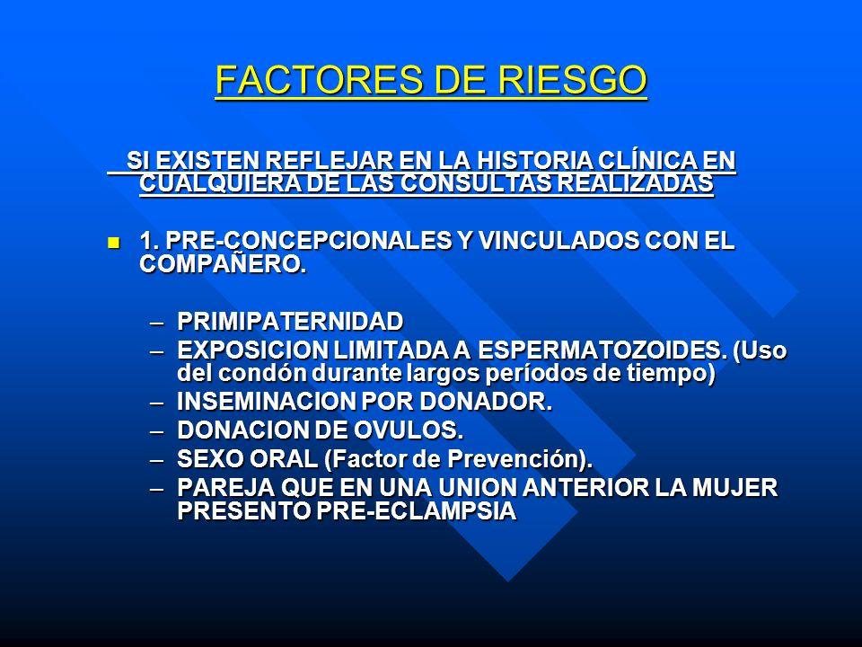FACTORES DE RIESGO SI EXISTEN REFLEJAR EN LA HISTORIA CLÍNICA EN CUALQUIERA DE LAS CONSULTAS REALIZADAS.