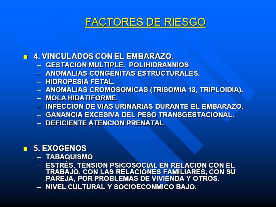 FACTORES DE RIESGO 4. VINCULADOS CON EL EMBARAZO. 5. EXOGENOS