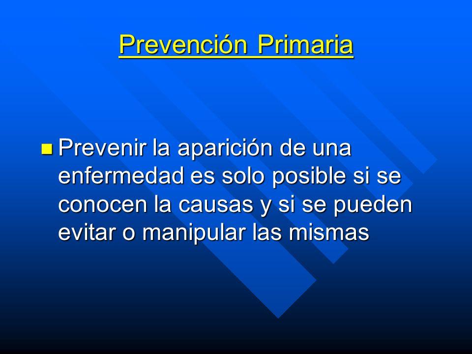 Prevención Primaria Prevenir la aparición de una enfermedad es solo posible si se conocen la causas y si se pueden evitar o manipular las mismas.