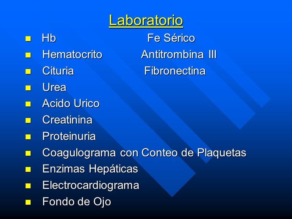 Laboratorio Hb Fe Sérico Hematocrito Antitrombina III