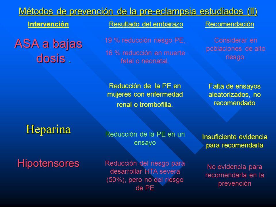 Métodos de prevención de la pre-eclampsia estudiados (ll)
