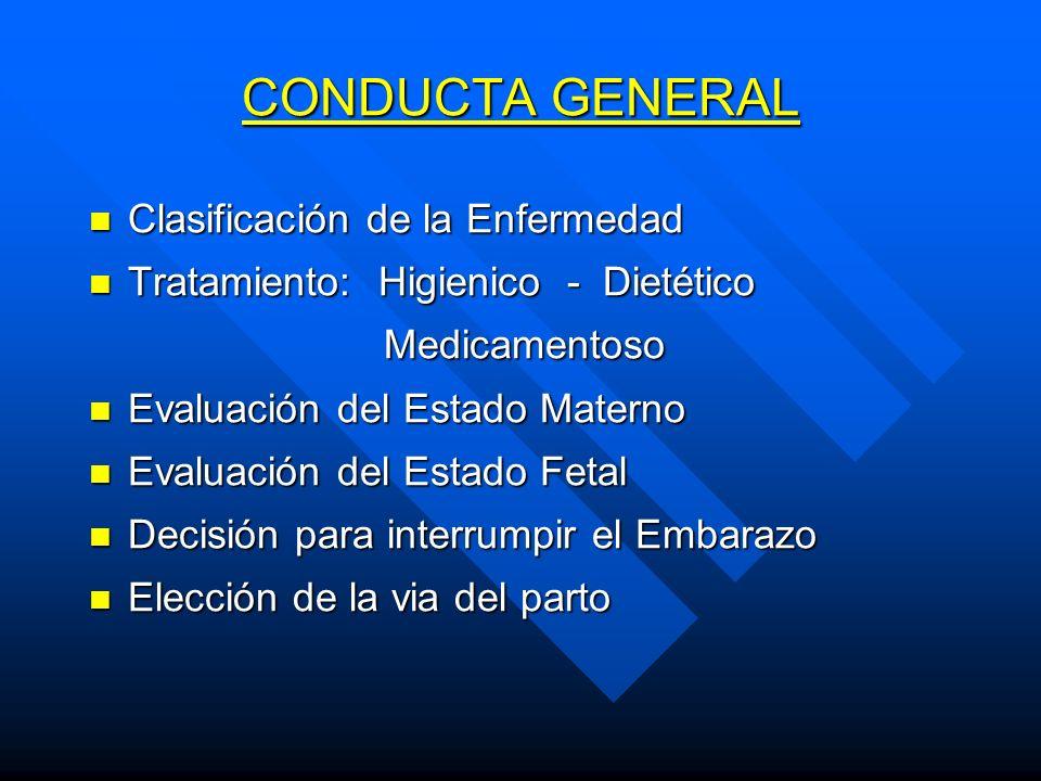 CONDUCTA GENERAL Clasificación de la Enfermedad