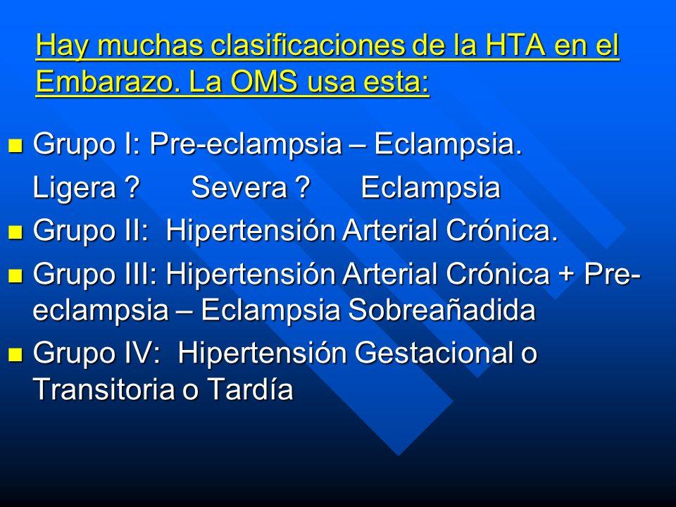 Hay muchas clasificaciones de la HTA en el Embarazo. La OMS usa esta: