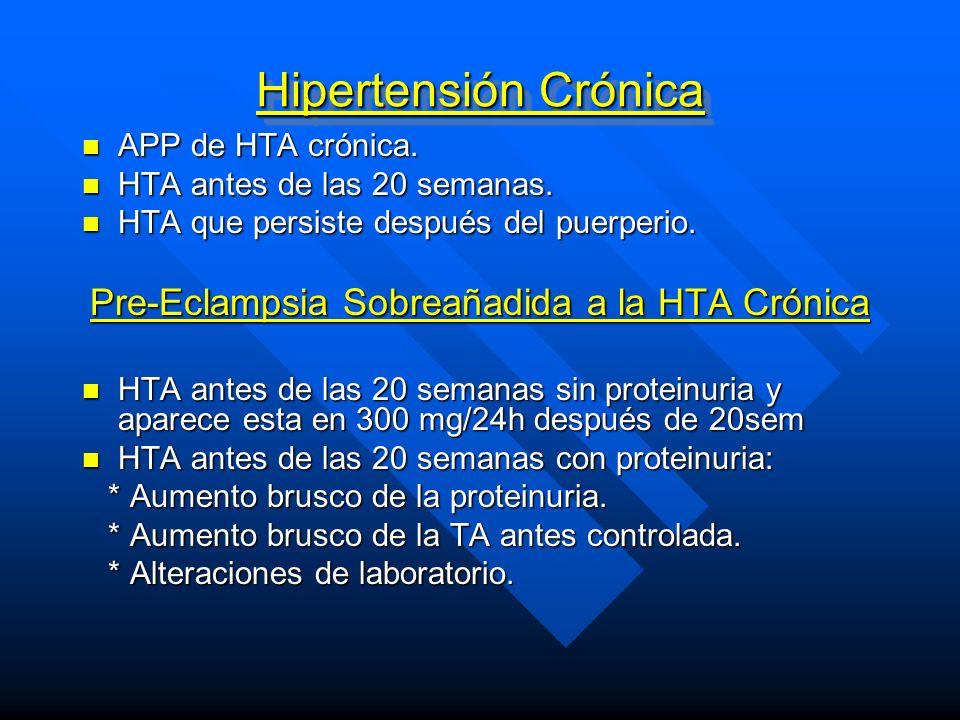 Pre-Eclampsia Sobreañadida a la HTA Crónica