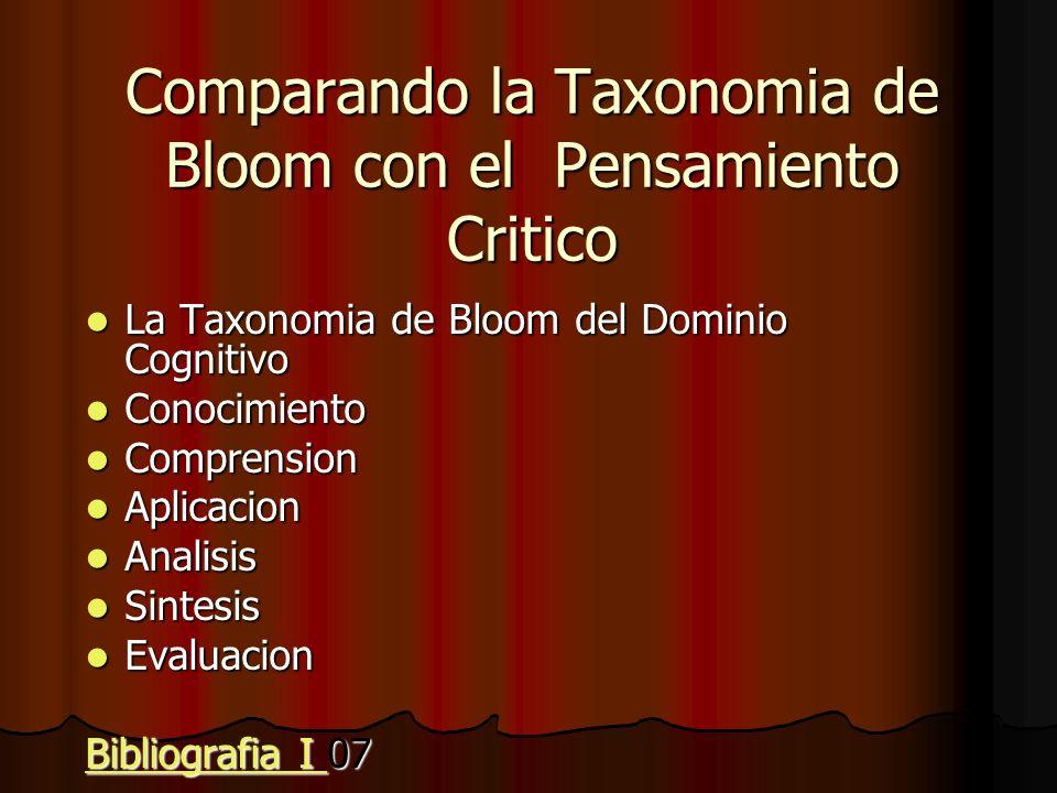 Comparando la Taxonomia de Bloom con el Pensamiento Critico
