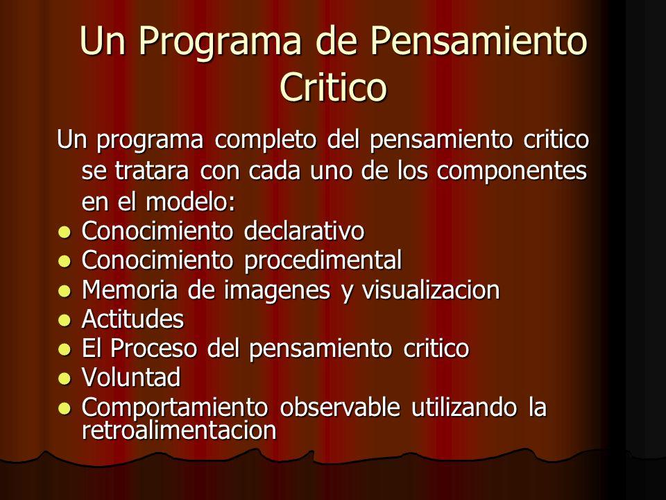 Un Programa de Pensamiento Critico