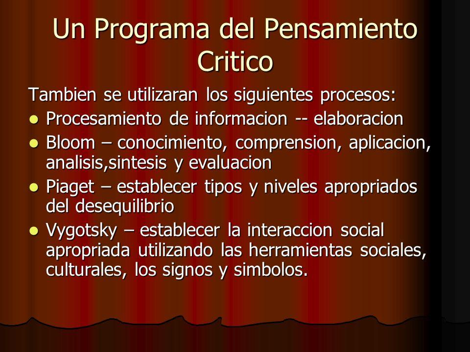 Un Programa del Pensamiento Critico