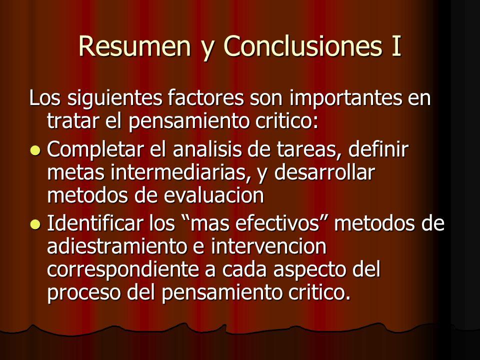 Resumen y Conclusiones I