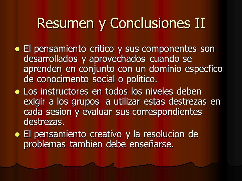 Resumen y Conclusiones II