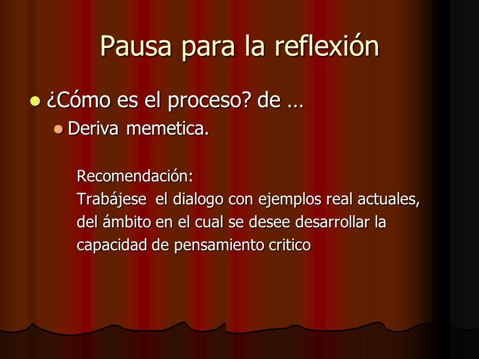Pausa para la reflexión