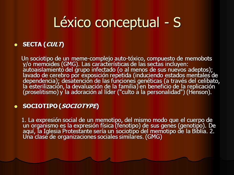 Léxico conceptual - S SECTA (CULT)