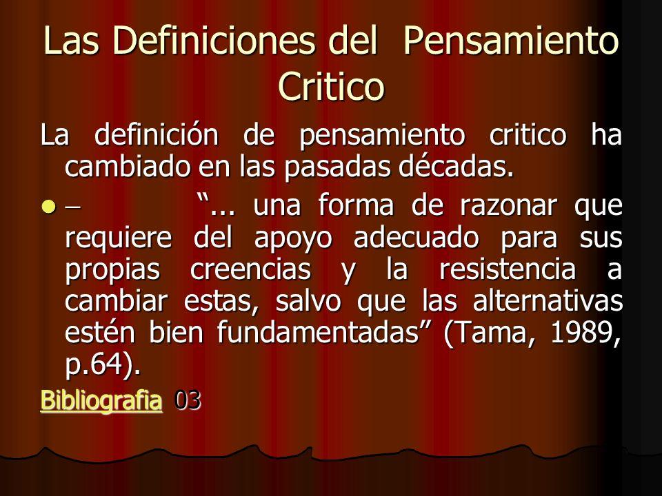 Las Definiciones del Pensamiento Critico