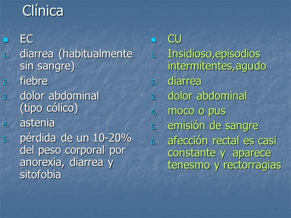 Clínica EC diarrea (habitualmente sin sangre) fiebre