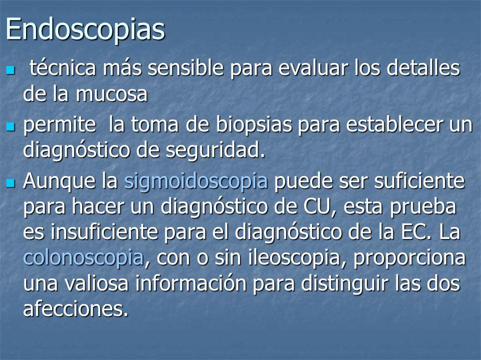 Endoscopias técnica más sensible para evaluar los detalles de la mucosa. permite la toma de biopsias para establecer un diagnóstico de seguridad.