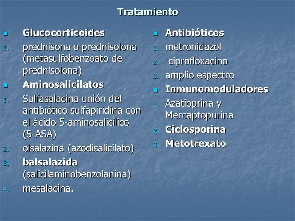 Tratamiento Glucocorticoides. prednisona o prednisolona (metasulfobenzoato de prednisolona) Aminosalicilatos.