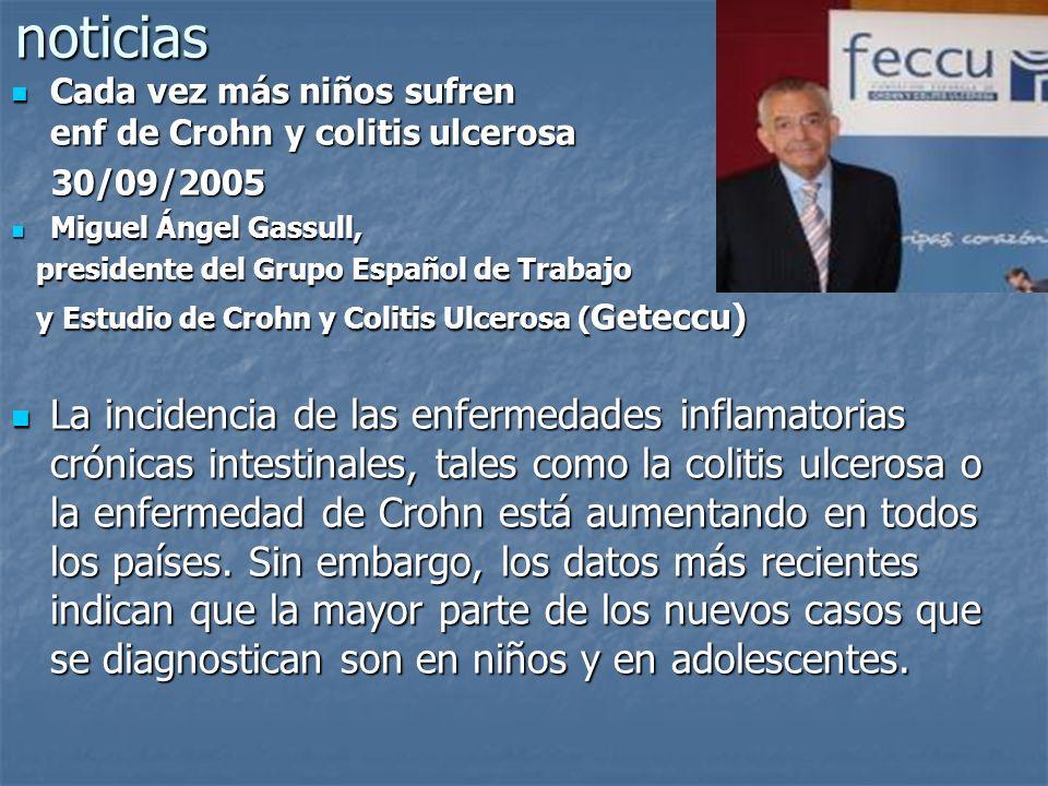 noticias Cada vez más niños sufren enf de Crohn y colitis ulcerosa.