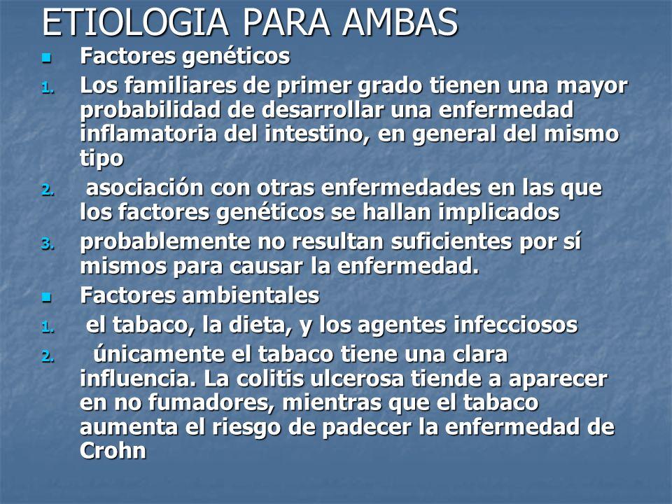 ETIOLOGIA PARA AMBAS Factores genéticos