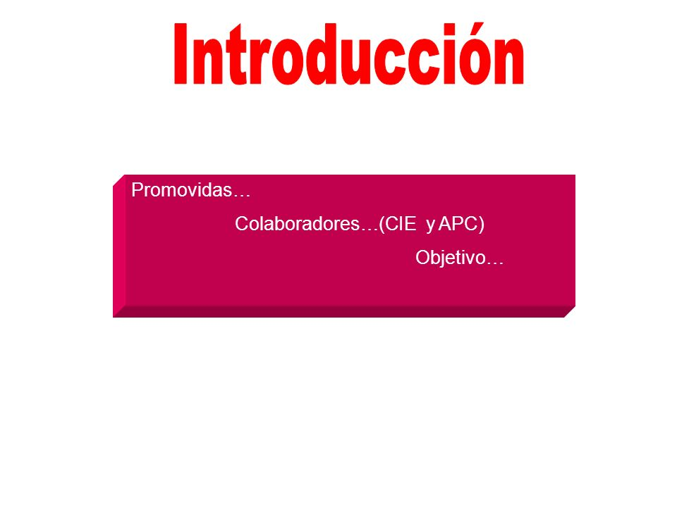 Introducción Promovidas… Colaboradores…(CIE y APC) Objetivo…