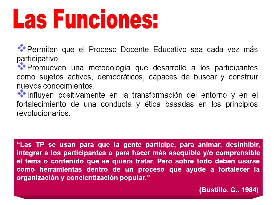 Las Funciones: Permiten que el Proceso Docente Educativo sea cada vez más participativo.