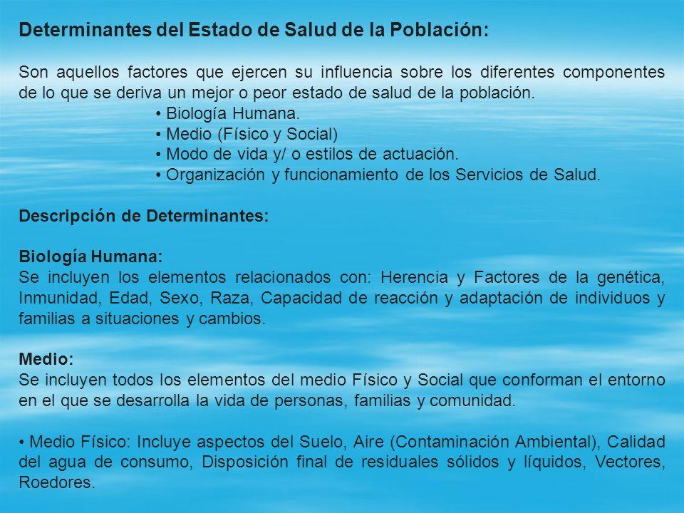 Determinantes del Estado de Salud de la Población: