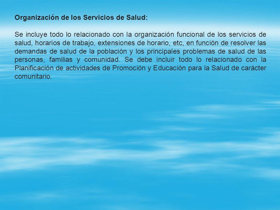 Organización de los Servicios de Salud: